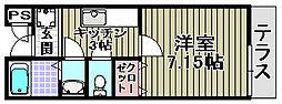 大阪府岸和田市下池田町3丁目の賃貸アパートの間取り