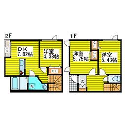 [テラスハウス] 北海道札幌市東区北二十六条東21丁目 の賃貸【北海道 / 札幌市東区】の間取り