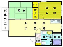 フローラルハイツII E棟[2階]の間取り