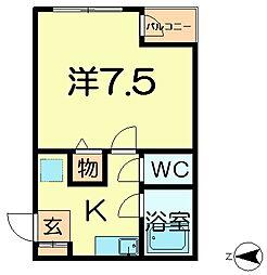 近鉄奈良線 東生駒駅 徒歩5分の賃貸マンション 2階1Kの間取り