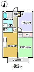 ハイエスト5A棟 202[2階]の間取り