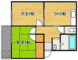 静岡県袋井市方丈6丁目の賃貸アパートの間取り