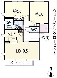 ガーデンプラムB棟[2階]の間取り