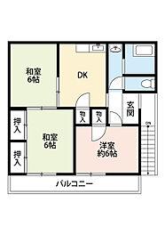 福岡県北九州市小倉南区中吉田6丁目の賃貸アパートの間取り