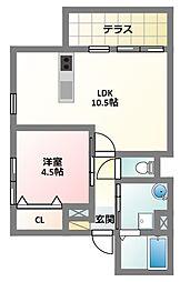 大阪府寝屋川市打上新町の賃貸アパートの間取り