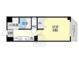 京阪本線 千林駅 徒歩6分の賃貸マンション 8階1Kの間取り