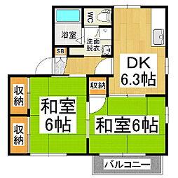 タウニィ緑ヶ丘B棟[2階]の間取り