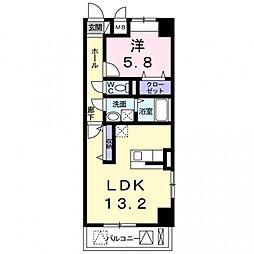 西田中町店舗付マンション[5階]の間取り