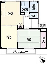第三河国荘B[2階]の間取り