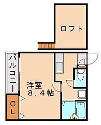 福岡県福岡市中央区笹丘1丁目の賃貸アパートの間取り