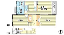 兵庫県たつの市御津町釜屋の賃貸アパートの間取り