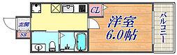 U-ro湊川 9階1Kの間取り