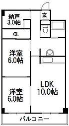 琴似コーポ山竹[7階]の間取り