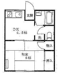 ファミーユ三春A[201号室]の間取り