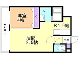 ルーチェ澄川 4階1LDKの間取り