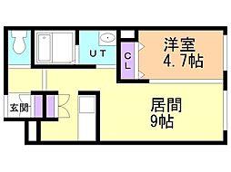 CITY RESIDENCE 幌平橋 2階1LDKの間取り