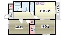 JR山陽新幹線 西明石駅 徒歩23分の賃貸アパート 1階2DKの間取り