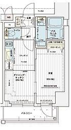エステムコート大阪新町 4階1DKの間取り