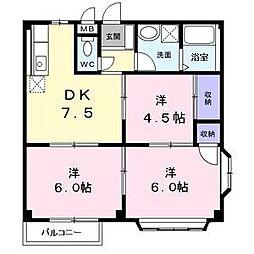 愛知県名古屋市中川区前田西町3丁目の賃貸アパートの間取り