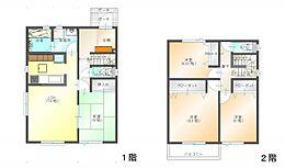 (参考プラン)間取図の一例です。参考プランを建築した場合の建物延床面積98.54平米、建物本体価格は付帯工事費も含め1580万円です。太陽光の設置・屋上庭園の費用は別途実費要。