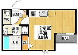 愛知県名古屋市昭和区福江2丁目の賃貸アパートの間取り