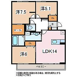 長野県松本市宮田の賃貸アパートの間取り