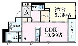 JR東海道・山陽本線 六甲道駅 徒歩9分の賃貸マンション 2階1LDKの間取り
