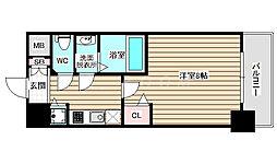 ディクス福島レジデンス 12階1Kの間取り