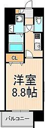 フューチャーホキマ(FUTURE HOKIMA) 2階1Kの間取り