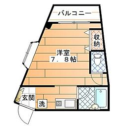 東京都日野市旭が丘2丁目の賃貸マンションの間取り