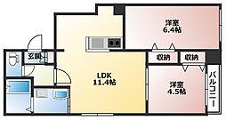 サリーレ新札幌B棟 3階2LDKの間取り