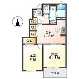 JR瀬戸大橋線 木見駅 徒歩21分の賃貸アパート 1階2DKの間取り