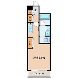 メルヴェーユ東八番丁 1階ワンルームの間取り