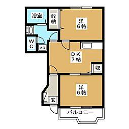 フォンターナサノB[1階]の間取り