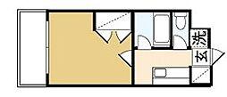 カンセイホーム樋川 5階1Kの間取り