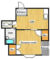 ペントハウス三箇[2階]の間取り