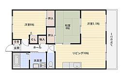 大阪府大阪市平野区長吉六反2丁目の賃貸マンションの間取り