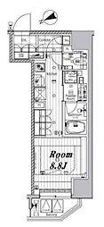 都営三田線 芝公園駅 徒歩8分の賃貸マンション 3階ワンルームの間取り