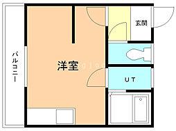 宮の下ハイツNo.2 3階ワンルームの間取り