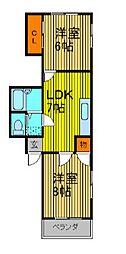 グレイスジュミ 3階2DKの間取り