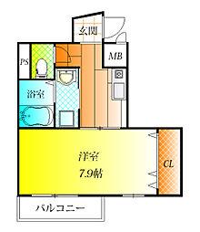 近鉄南大阪線 藤井寺駅 徒歩4分の賃貸マンション 6階1Kの間取り