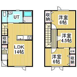 啓北町新築メゾネットアパート[D号室]の間取り