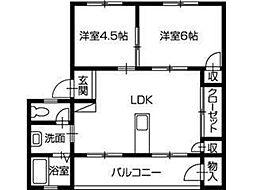 徳島県徳島市春日2丁目の賃貸マンションの間取り