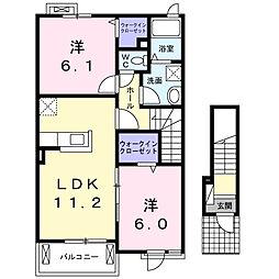 三ヶ尻アパート[2階]の間取り