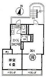 東京都調布市富士見町1丁目の賃貸マンションの間取り