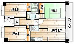 ルワージュ八幡駅前III[6階]の間取り