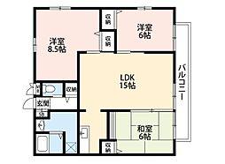 福岡県北九州市若松区塩屋2丁目の賃貸アパートの間取り