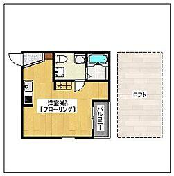ロワゾブルー七隈[203号室]の間取り