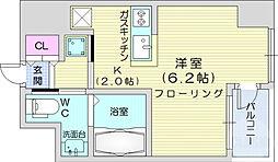 KDXレジデンス仙台駅東 12階ワンルームの間取り
