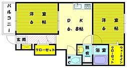 センターフィールド[1階]の間取り